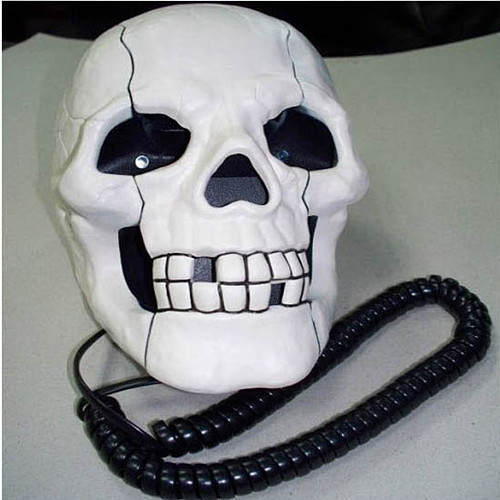Free Shipping Home Office Decoration Skeleton Skull Shape Wired Telephone w/ Led Eyes