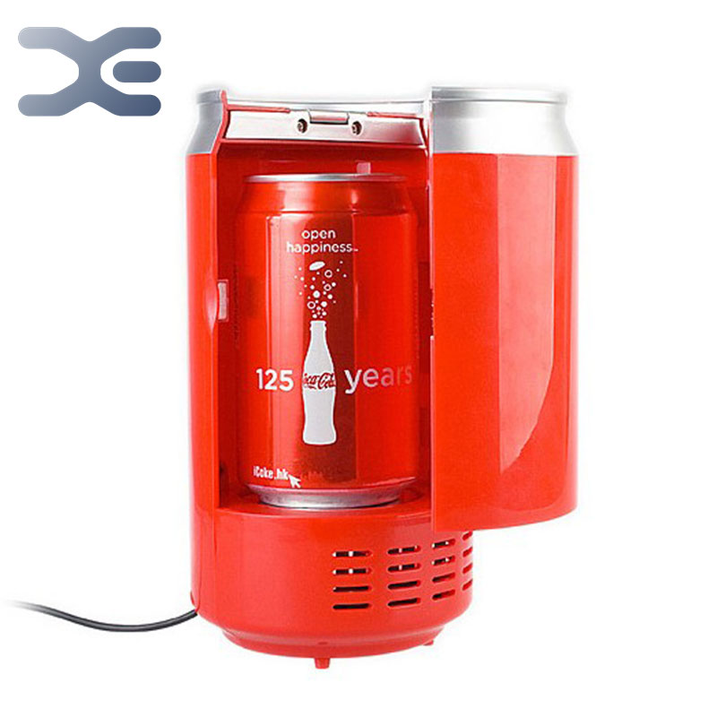 2Per Lot Free Shipping Usb Mini Refrigerator Portable Fridge Red Refrigerador Portatil Drink Cans Cooler And Warmer Mini Nevera(China (Mainland))