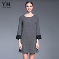YuooMuoo New Women Autumn Fashion Classic Plaid Big Size Gray Casual Dress European Elegant Women Clothing