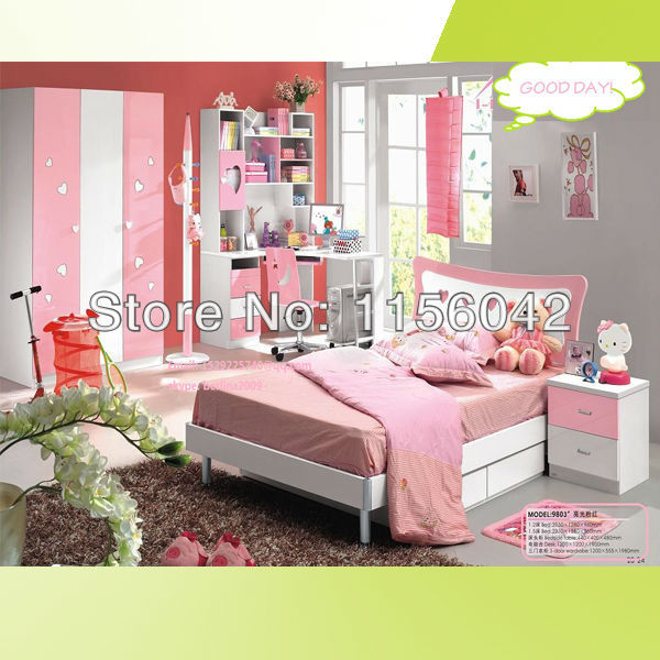 Top Sale Nice Cute Pink Color Children Kids Furniture Bed Furniture Kids Bedroom Furniture Sets
