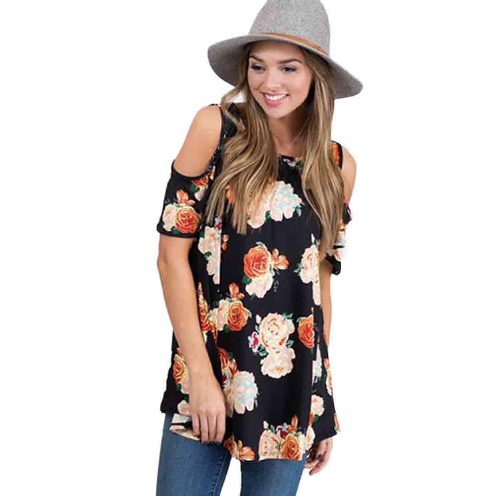Shirt design 2017 female - New Design Flower Print Women T Shirts 2017 Fashion Casual Summer Short Sleeve Tshirt Girls Sexy