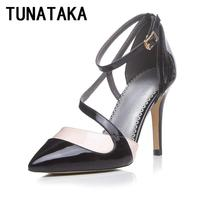 Ultra-high-heeled Shoes Sexy Summer Pumps Woman Pointed Toe Ankle-strap Leather Party Shoes