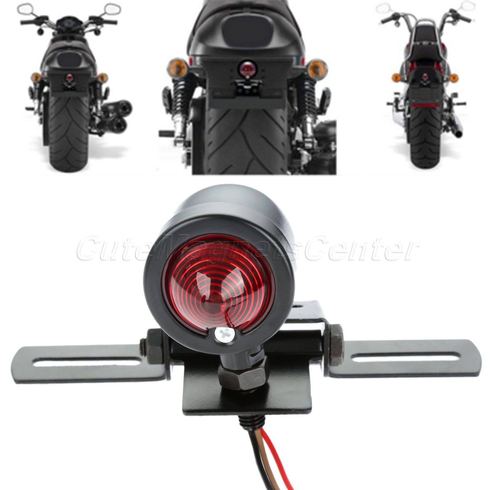 Red 12V Motorcycle Tail Light Brake with License Plate Holder Black for Harley Bobber Cafe Racer Motorcycle for 10mm Screw Bolts(China (Mainland))