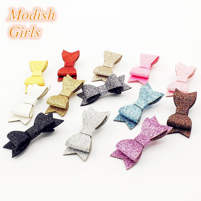 Modish Girls Wholesale Glitter 2015 Bestseller Glitter Felt Hair Clips Bowknot Baby Shining Barrettes Modern Girls Hairpins(China (Mainland))