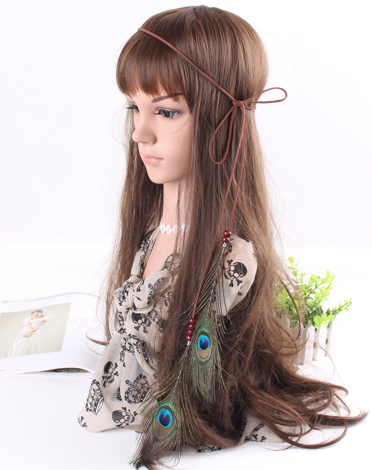 New Arrival Bohemian Hippie Headband peacock Feather Pendant Hair band with coffee Wood Beads(China (Mainland))