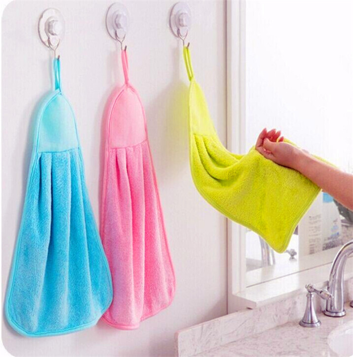 Microfiber coral velvet cloth towel Hanging kitchen bathroom Absorbent quick drying hand towel pano de prato cleaning towels(China (Mainland))