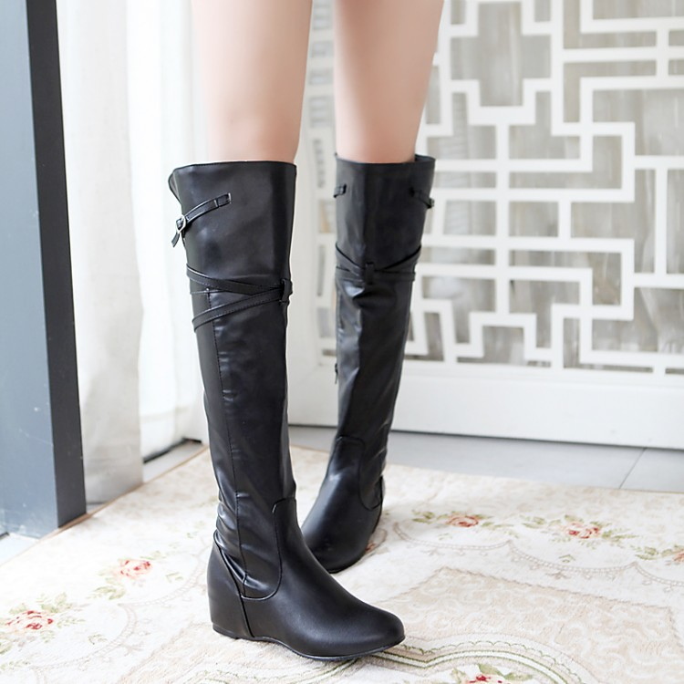 Over Knee Boots Flat Leather Black White Promotion-Shop for ...
