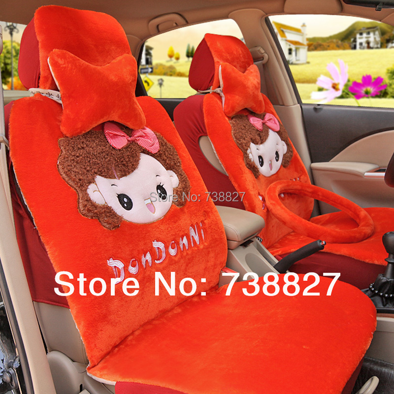 Seat clamp picture more detailed picture about universal car covers set with wool cute girl