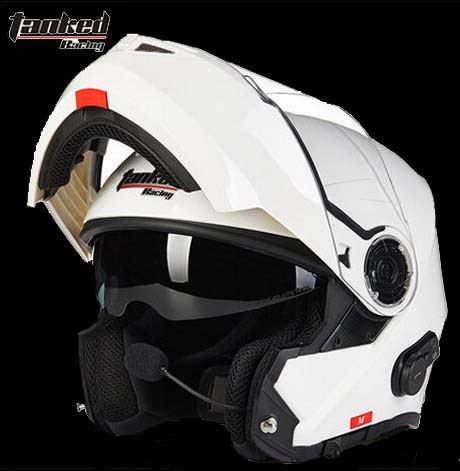 Tanked Racing T270B motorcycle Helmet with Bluetooth flip up MOTO motocross Dual headset intercom System off road safety helmets