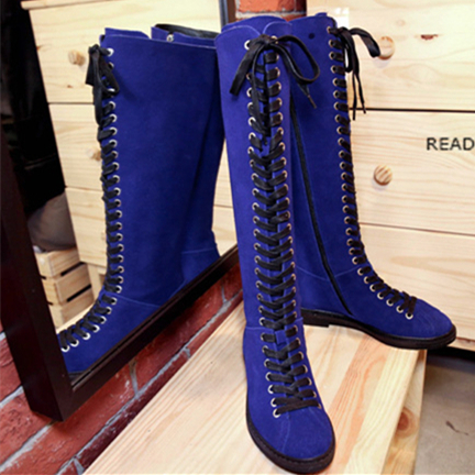 2015 New Fashion Winter Boots Solid Genuine Leather Women Boots Temperament Shoes Woman Round Low-heeled Lace-Up Knight Boots