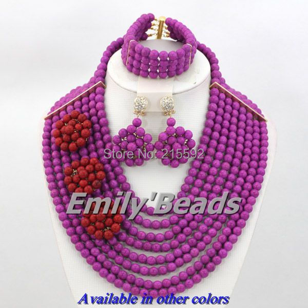 Nigerian Wedding African Beads Jewelry Set Available in Other Colors Turquoise Beads Jewelry Set 8 Layers Free Shipping AES652(China (Mainland))