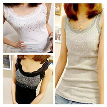 300pcs/Lot Sleeveless Cotton Bling Women Lady Lace Camis Vest Singlets Summer Tops(China (Mainland))