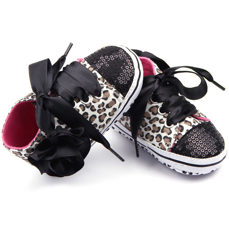 Baby Kids Girls Cotton Floral Leopard Sequin Infant Soft Sole First Walker Toddler Shoes - -Sunflower- store