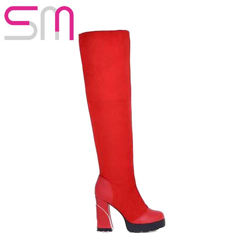 Sexy Patch Over the Knee High Boots Hoof High Heels Platform Shoes 2015 New Slip on Kinght boots Autumn Winter Boots Women Shoes