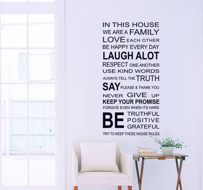 """in this house"" family rules quotes bedroom child living room home decor wall stickers 3D stickers waterproof removable(China (Mainland))"