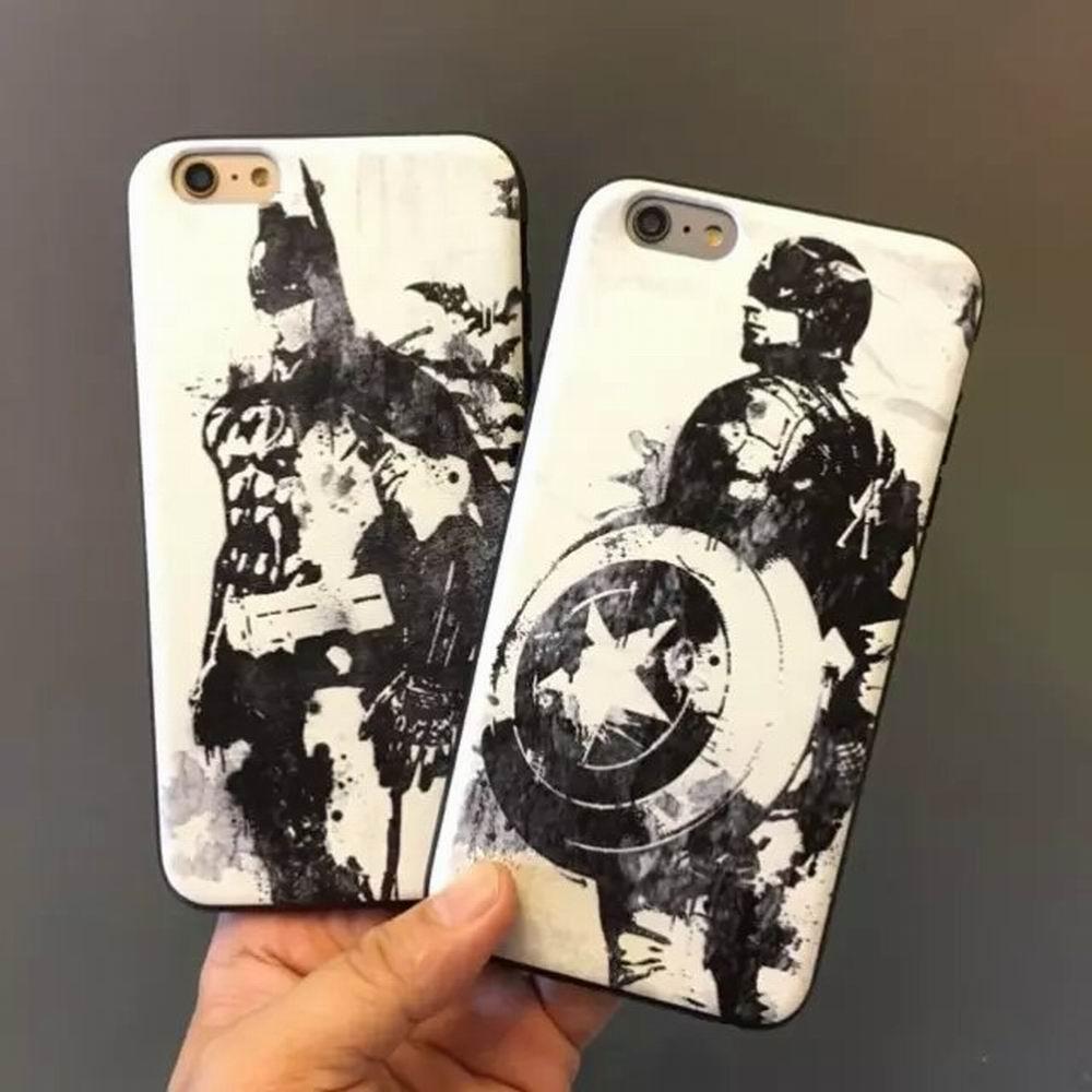 Popular Cartoon Image Best Gift Hot Iron Man Batman Print Black Frame Soft TPU Back cover Case Iphone 6 / 6Plus Phone cases - Michael Company Store store