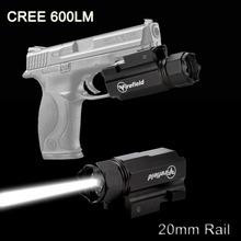 Super bright handgun 600 Lumen LED white light Gree Tactical Flashlight with 20mm rail for handgun pistol flashlight JG-3A(China (Mainland))
