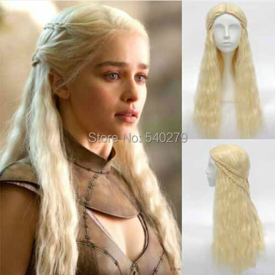 Game Throne Daenerys Targaryen Cosplay Wig Long Curly Blonde Synthetic Hair braid Anime Wigs - HD online Store store