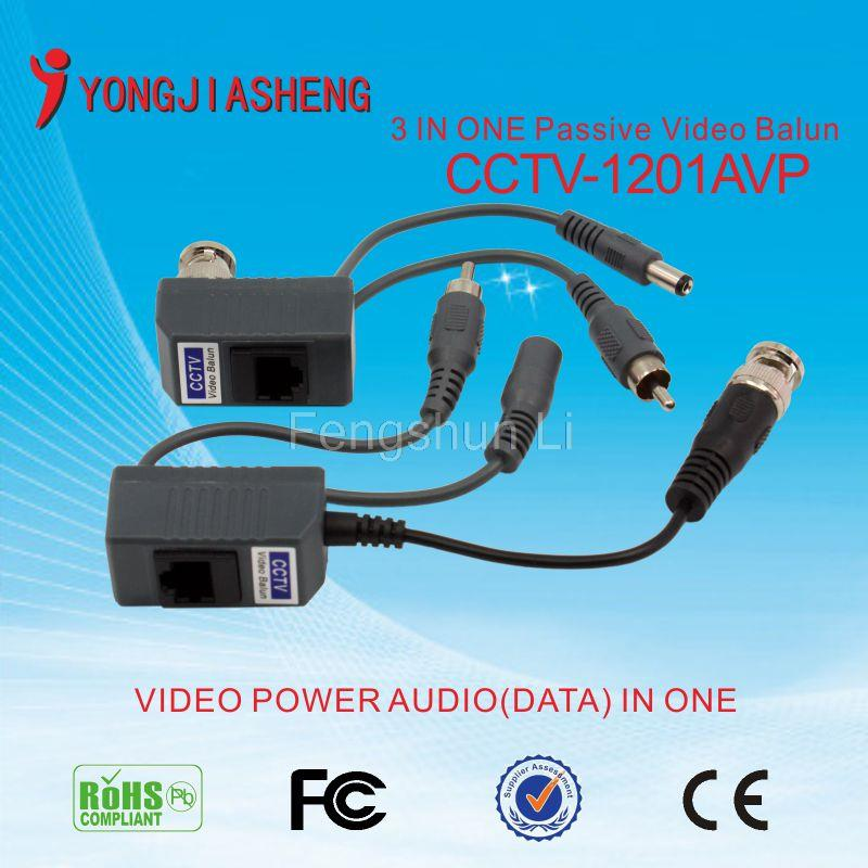 CCTV Camera Passive Audio Video Balun Transceiver BNC UTP RJ45 Video Balun Audio Video Power over CAT5 Cable Transmitter 1Pair(China (Mainland))