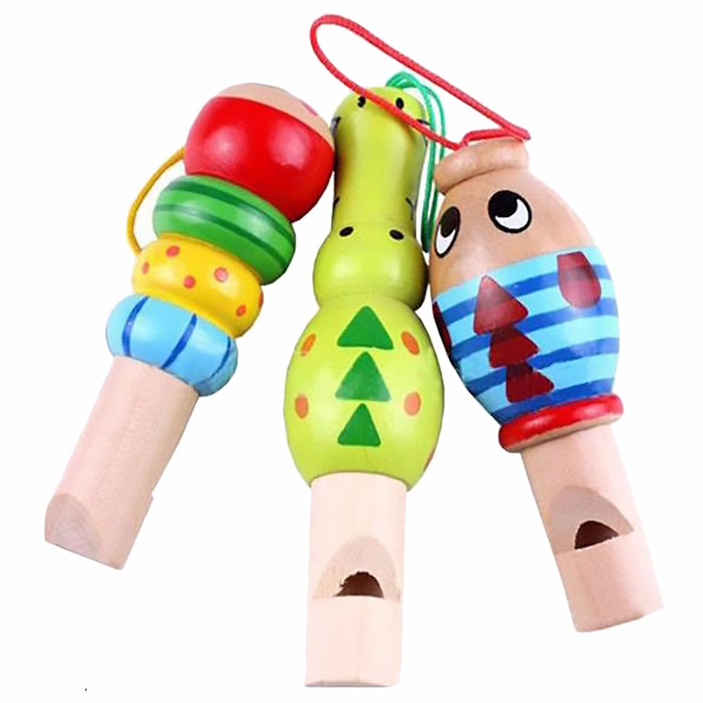 1 pc Wooden Random color Toys Cartoon Animal Whistle Educational Music Instrument Toy for Baby Kids Children(China (Mainland))