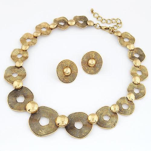 viviLady 2016 Retro Collar Jewelry Sets Women Metal Necklace Stud Earrings Evening Party Drop Shipping Fashion - ViviLady store