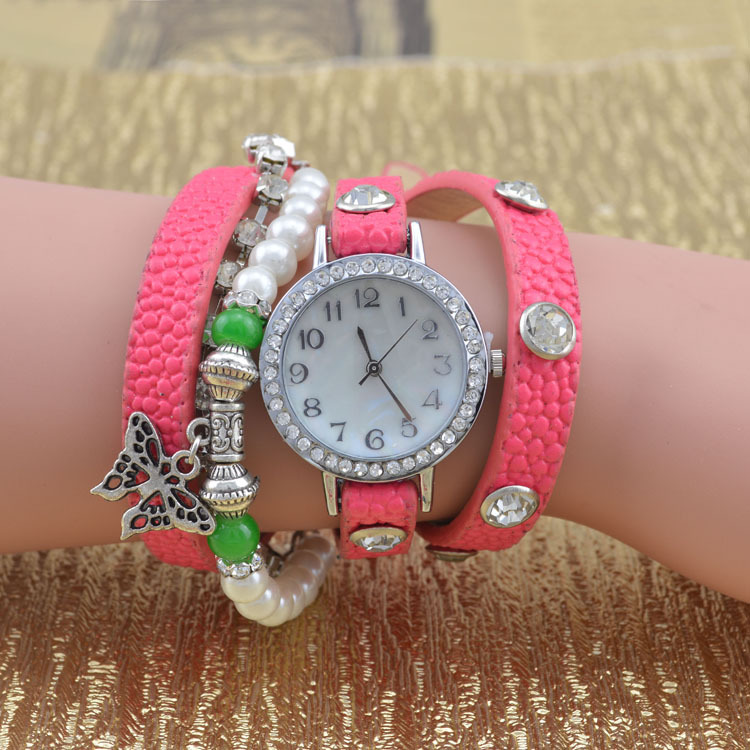Arrivals 7 Colors Fashion Women Rhinestone Watches, Pearl Watch Leather Strap Watches Wristwatches - Nancy Girl Sets Mall store
