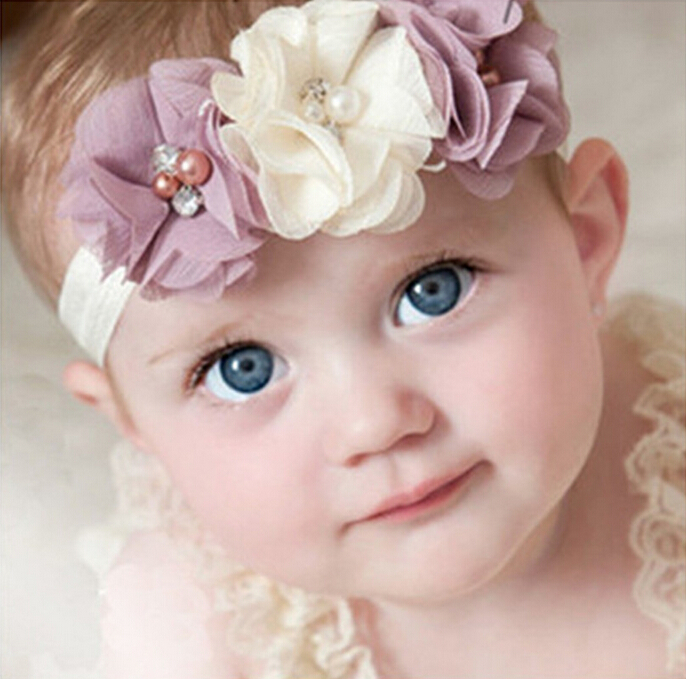 1 Pieces Newborn Baby Headband Chiffon 3 Flower Pearl Diamond with A Shimmer Headbands Elasticity Baby hair accessories W045(China (Mainland))