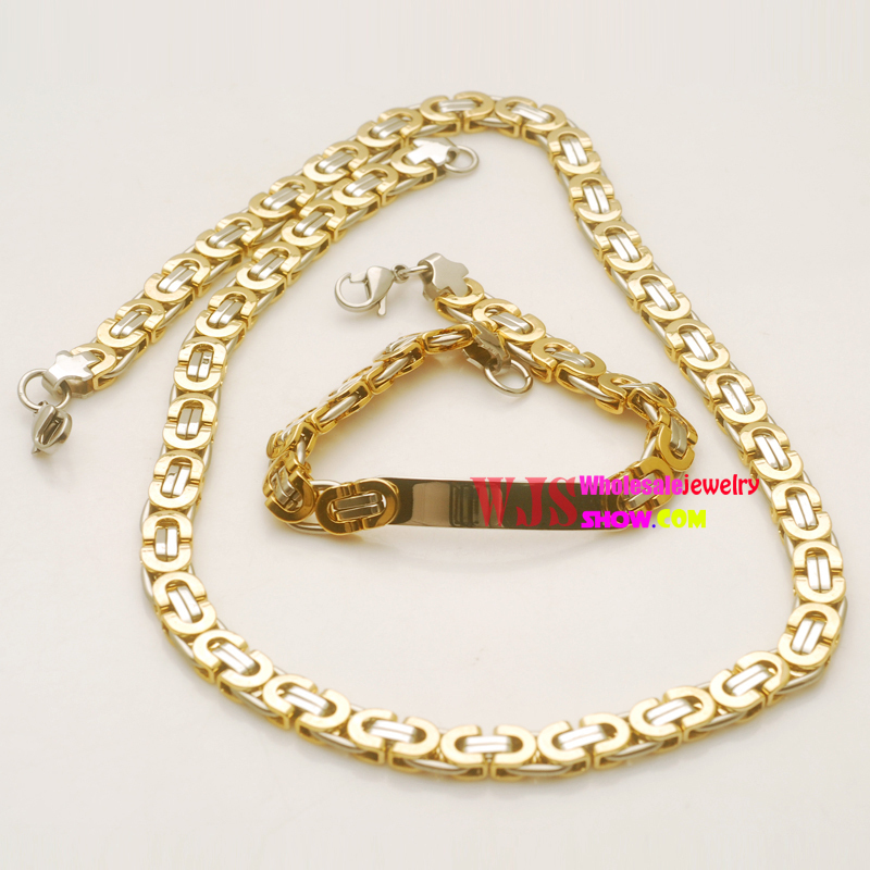 Top Quality Dubai Style Vintage Stainless Steel Jewelry/ Men's Bracelets&Necklace Man's Jewelry Sets(China (Mainland))