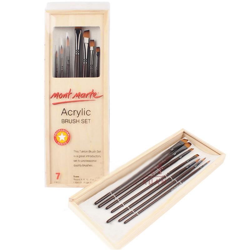 7pcs/set Nylon Paint Brush Set Watercolor Drawing Brushes with Box Gouache Oil Acrylic Paint Pen Art Supplies(China (Mainland))