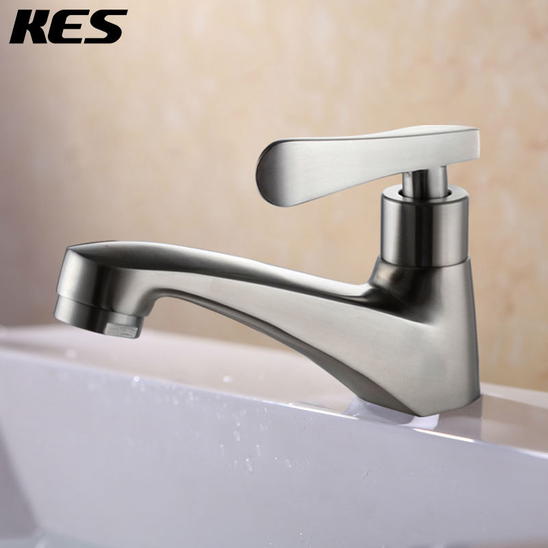 Stainless Steel Single Cold Tap Bathroom Sink Faucet Surface Mount ...