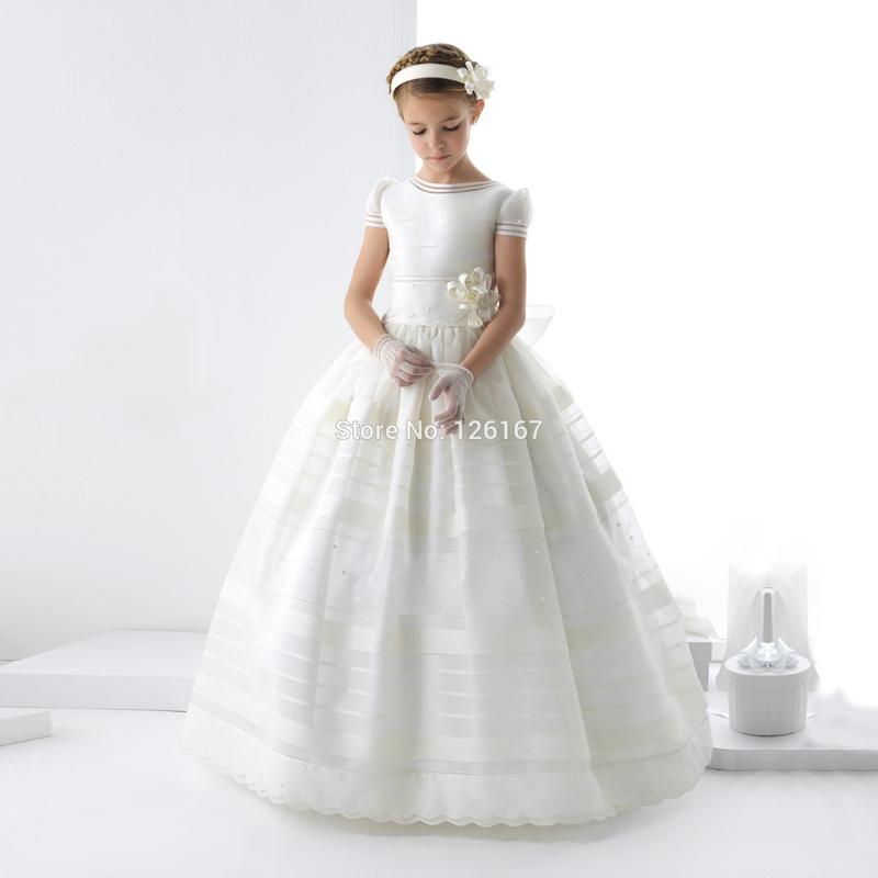 White First Communion Dresses For Girls 2017 Ball Gown Scoop Floor-Length Organza Flower Girl's DressCG1001