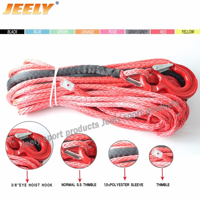 10MM*30M UHMWPE Braid Synthetic Winch Rope with HOOK & Fairlead for 4WD/ATV/UTV/SUV Winch Free shipping