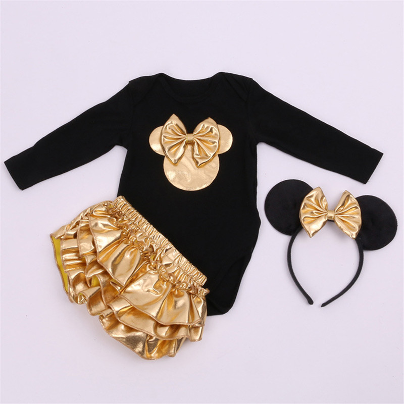 New 2016 Mickey User Avatar Bow Long Short Romper PP pants Autumn Clothes Set Cute Baby Clothing Beautiful Kids Romper Sets(China (Mainland))