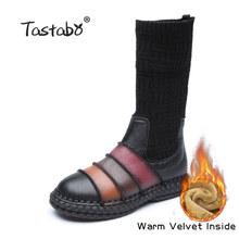 Tastabo Khởi Động Phụ Nữ Chính Hãng Giày Da Giày Phụ Nữ Mùa Thu Làm Bằng Tay Phụ Nữ mềm Phẳng giày Phụ Nữ Giản Dị của(China)