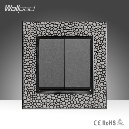 New Design 2 Gang 1 Way Wallpad Luxury Pearl Leather Plate UK Standard Two Gang One Way Electric Wall Switch Free Shipping(China (Mainland))