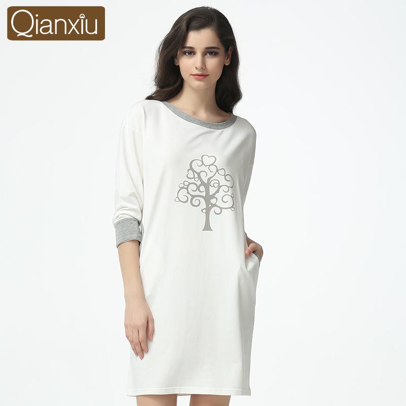 Qianxiu Casual Nightgown For Women Three Quarter Sleepskirts Knee-length Sleepwear UnderwearОдежда и ак�е��уары<br><br><br>Aliexpress