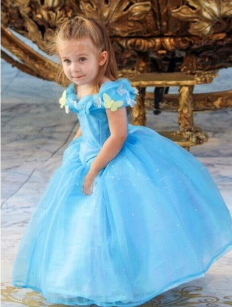 Cinderella dress summer new butterfly Blue children Cosplay Costume Girl Princess fancy Dresses clothing - shuang wang's store