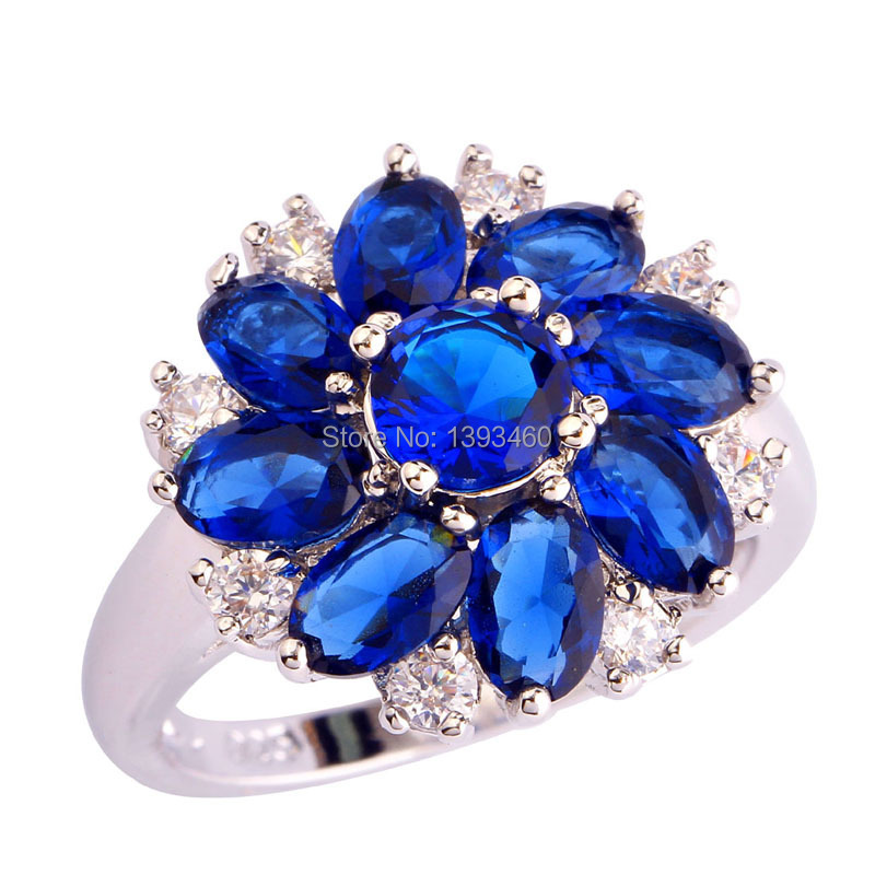 Junoesque Round Marquise Cut Sapphire Quartz Silver Ring Size 6 7 8 9 10 11 12 New Fashion Jewelry Gift Women - WEILING Co.,Ltd 2014 store