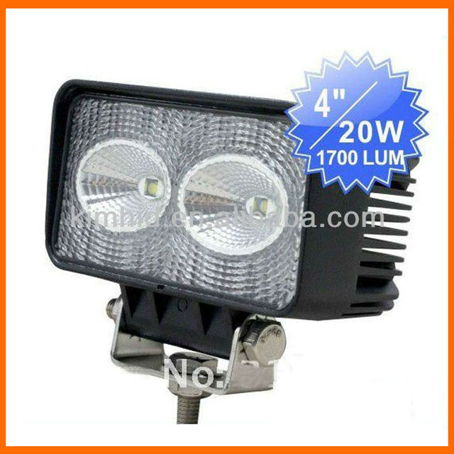 Free shipping 10~30V 20W Auto high power LED work Light 18months warranty with 2*10W USA CREE LED