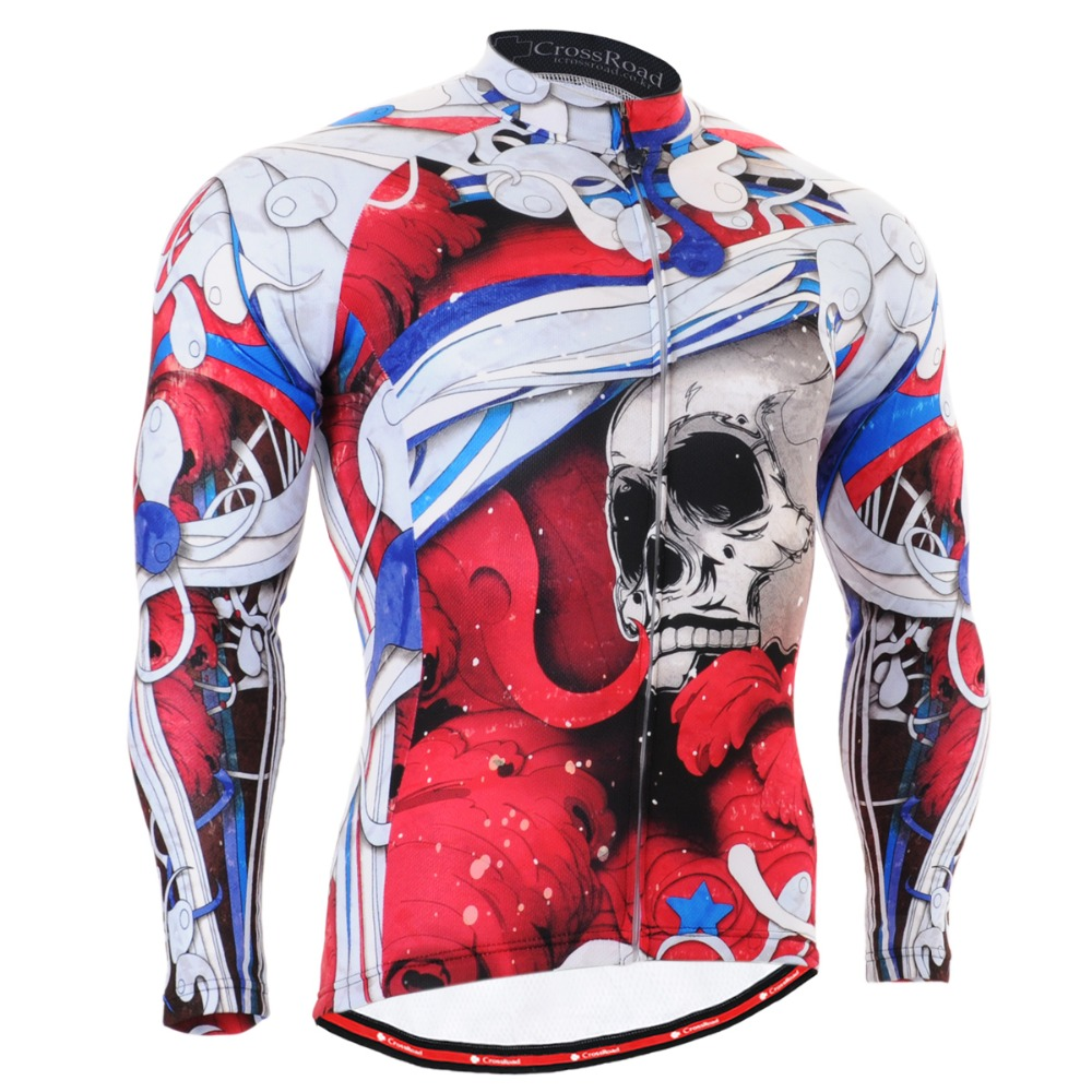 Authentic Men Cycling Jersey Skeleton Red Bike Riding Clothing Long Sleeve Full Zipper Advanced Performance CS-19R1(China (Mainland))