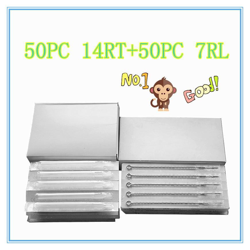14RT+7RL 50PCS white long Disposable Tattoo tips + 50 PCS Disposable Sterile Tattoo Needle Free shipping tattoo needle product