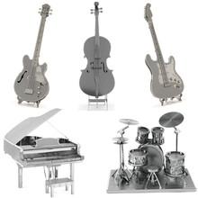 Музыкальные Инструменты 3D Металлические Головоломки DIY Нержавеющей Стали Ассамблеи Модель Игрушки Магнитные Детей Игрушки Электрическая Гитара Виолончель Бас Головоломки