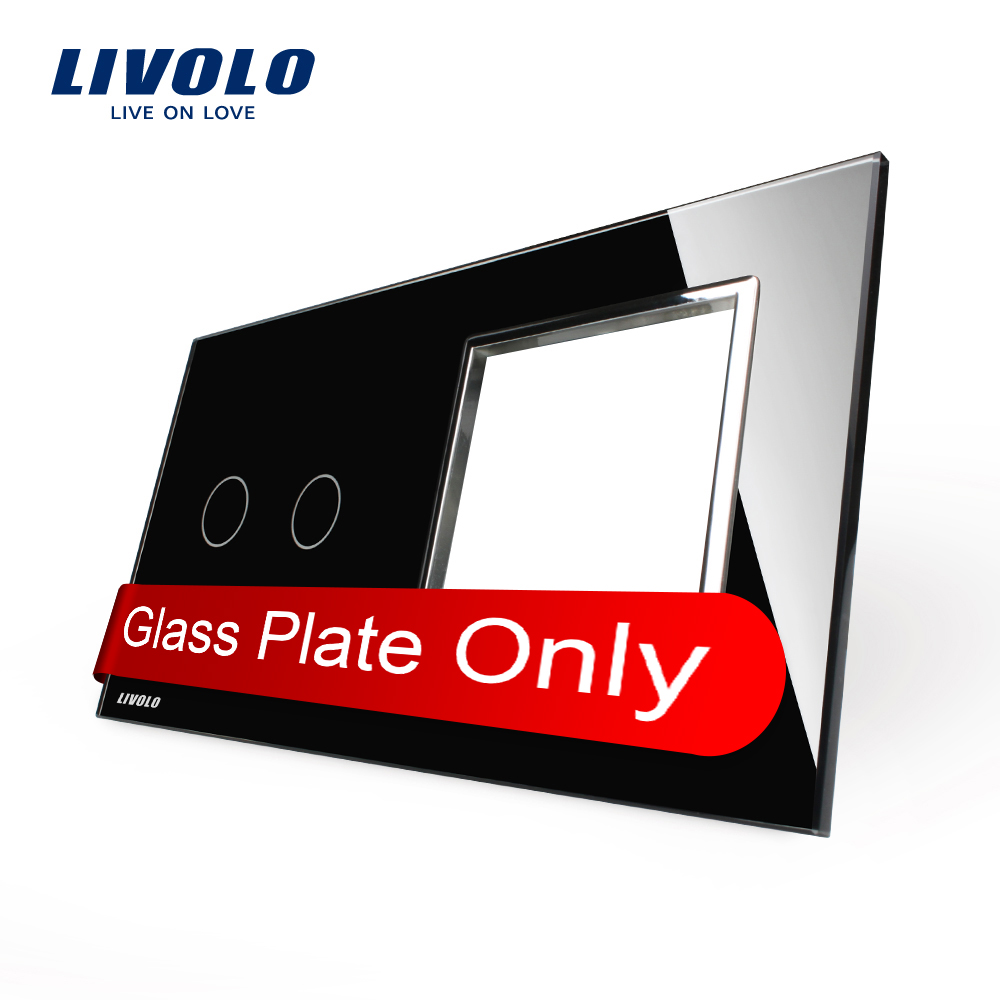 Free Shipping, Livolo Luxury Black Crystal Glass, 151mm*80mm, EU standard, 2Gang &amp;1 Frame Glass Panel, C702-12/C7-SR2-G<br><br>Aliexpress