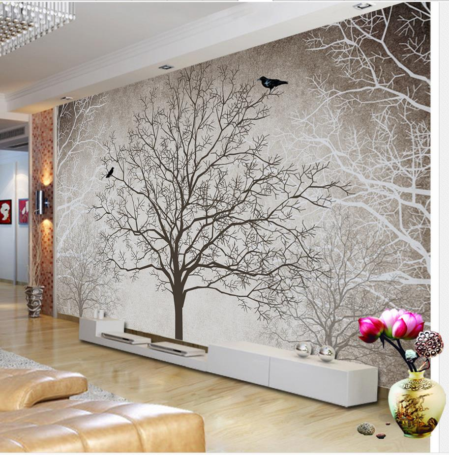 Retro black and white tv backdrop tree 3d room wallpaper for Black and white wall mural wallpaper