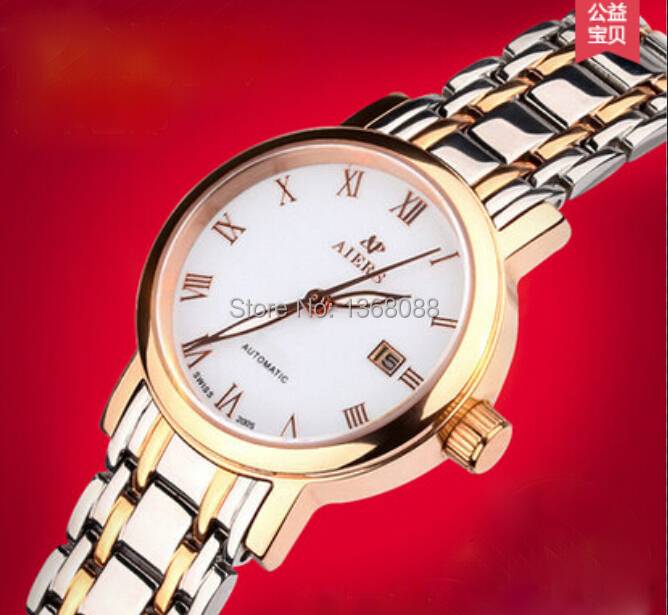 Roman numerals women rhinestone geneva watches stainless steel womans fashion wristwatches yellow gold skeleton watches(China (Mainland))