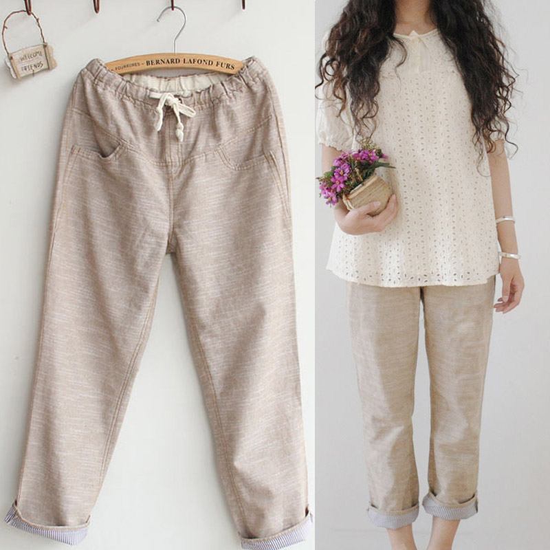 Summer 2013 linen pants japanese style elastic loose casual ankle length trousers fluid - jinmei zhang's store