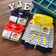 2016 spring baby boys girls long sleeve coat children hoodded stripe sport outwear kids cartoon outdoor sweater