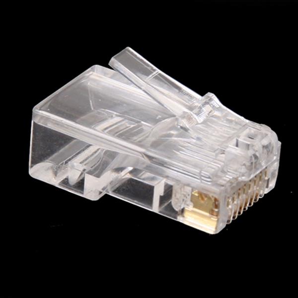 Wholesale 100Pcs/lot Clear RJ45 RJ-45 UTP CAT5 Crystal Modular Plug Ethernet Lan Networking Network Connector(China (Mainland))