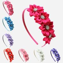Buy 1 pcs Satin Ribbon Flower rhinestone baby girl hair flower band Korean style princess headband children hair accessories for $1.29 in AliExpress store