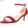 New Red Comfortable Women Sandals Shoes Ladies Fashion Open Toe Med Thin High Heels One Strap